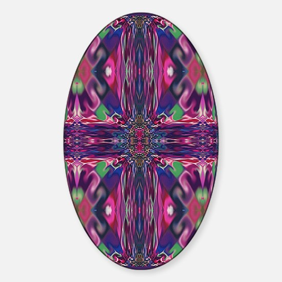 Magenta 'Stained Glass' Cross Oval Decal