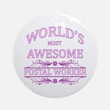 World's Most Awesome Postal Worker Ornament (Round
