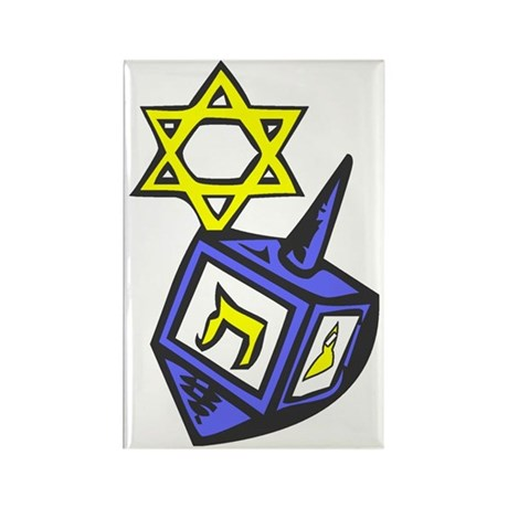 Yellow and Blue Dreidle Star Rectangle Magnet