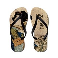 Vintage Japanese Art Woman Flip Flops