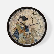 Vintage Japanese Art Woman Wall Clock