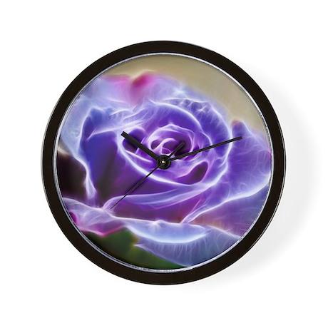 Purple Lighted Rose Wall Clock