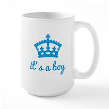 It's a boy, text design with blue crown Mug