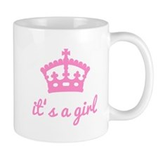 It's a girl, text design with pink crown Mug
