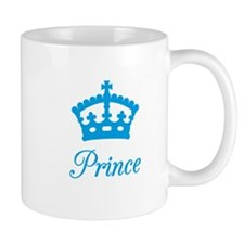 Prince text design with blue crown for baby shower
