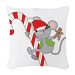 Candy Cane Mouse Woven Throw Pillow