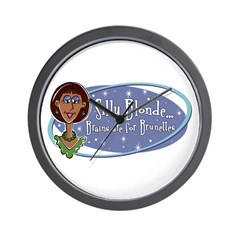 Brains are for Brunettes Wall Clock