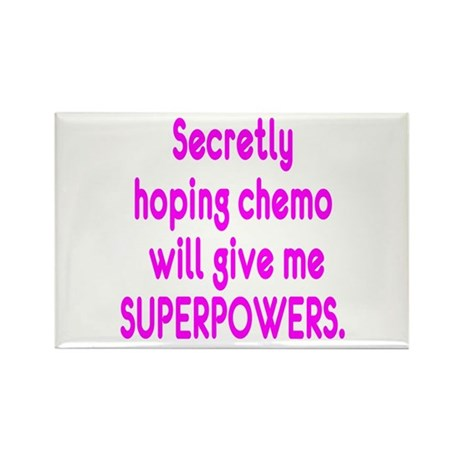 Funny Cancer Chemo Superpowers Pink Rectangle Magn
