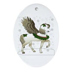 Winter Pegasus Oval Ornament