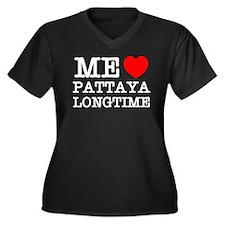 ME LOVE PATTAYA LONGTIME Women's Plus Size V-Neck