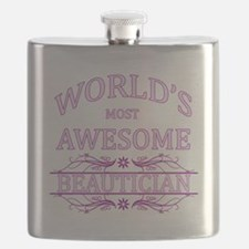 World's Most Awesome Beautician Flask