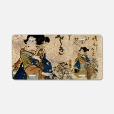 Vintage Japanese Art Woman Aluminum License Plate