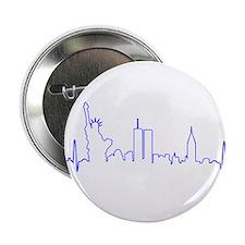 """New York Heartbeat BLUE 2.25"""" Button"""