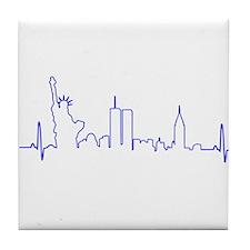 New York Heartbeat (Heart) BLUE Tile Coaster
