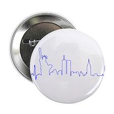 """New York Heartbeat (Heart) BLUE 2.25"""" Button"""