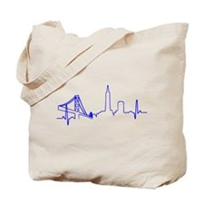 San Francisco Heartbeat BLUE Tote Bag