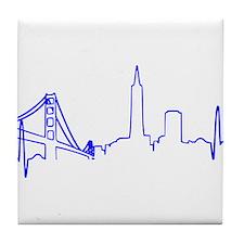 San Francisco Heartbeat BLUE Tile Coaster