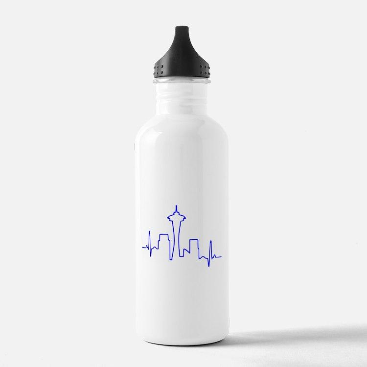 Seattle Heartbeat BLUE Water Bottle