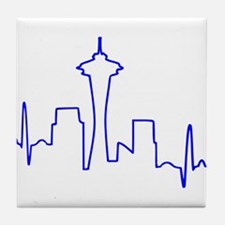 Seattle Heartbeat BLUE Tile Coaster