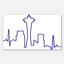 Seattle Heartbeat BLUE Sticker (Rectangle)