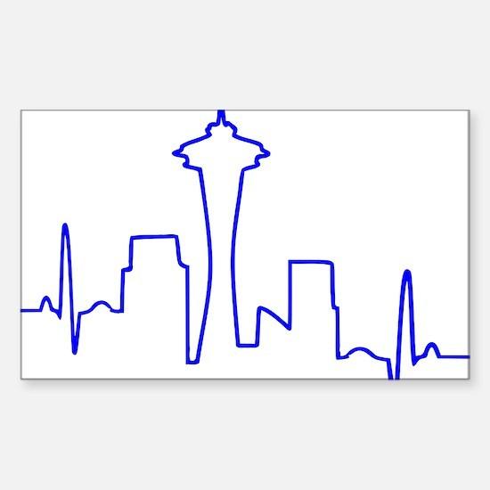 Seattle Heartbeat BLUE Sticker (Rectangle)