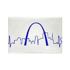 St. Louis Heartbeat (Heart) BLUE Rectangle Magnet