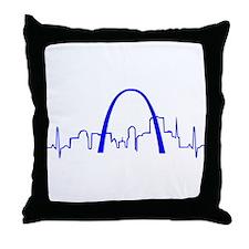 St. Louis Heartbeat BLUE Throw Pillow