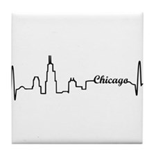 Chicago Heartbeat Letters Tile Coaster