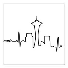 "Seattle Heartbeat Letters Square Car Magnet 3"" x 3"