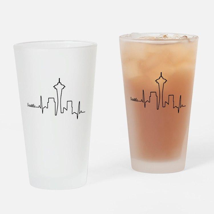 Seattle Heartbeat Letters Drinking Glass