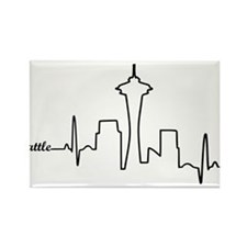 Seattle Heartbeat Letters Rectangle Magnet