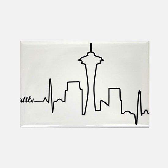 Seattle Heartbeat Letters Rectangle Magnet