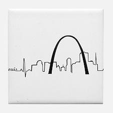 St. Louis Heartbeat Letters Tile Coaster