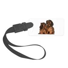 Longhaired Dachshund Siblings Luggage Tag