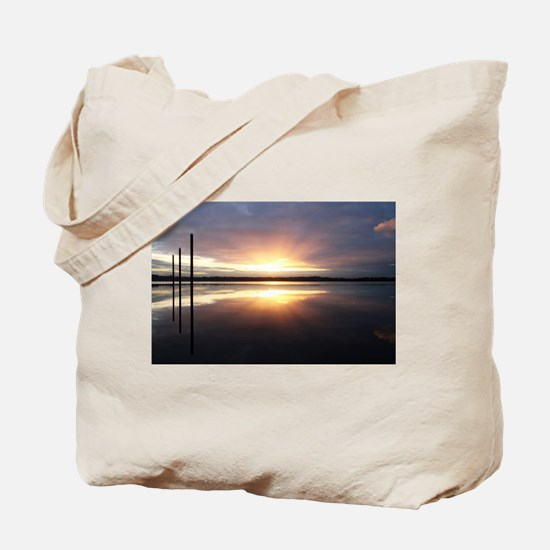 Breaking Dawn Over Still Water Tote Bag