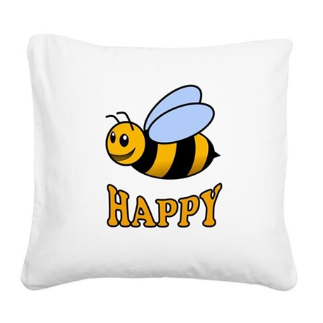 BE HAPPY Square Canvas Pillow