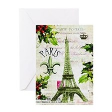 Vintage French Christmas in Paris Greeting Card