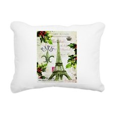 Vintage French Christmas in Paris Rectangular Canv