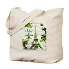 Vintage French Christmas in Paris Tote Bag