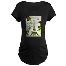 Vintage French Christmas in Paris Maternity T-Shir
