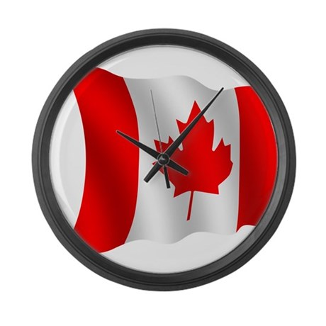 Canada flag large wall clock by ksikf3334 for Oversized wall clocks canada