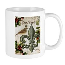 Vintage French Christmas bird and fleur de lis Mug
