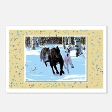 Greyhounds in Snow Postcards (Package of 8)