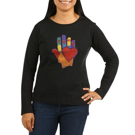 Heart and Hand Women's Long Sleeve Dark T-Shirt