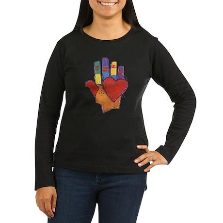 Heart and Hand Women's Long Sleeve Dark T-Shirt