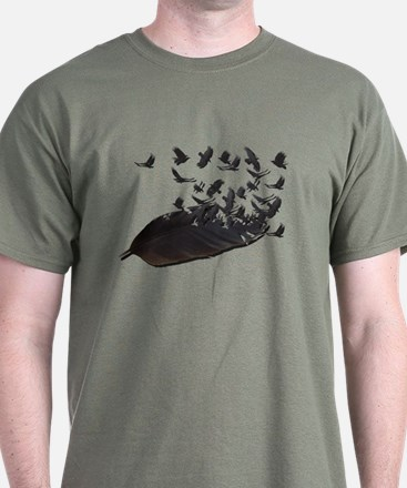 Flying Crow Feather T-Shirt