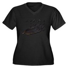 Flying Crow Feather Women's Plus Size V-Neck Dark