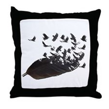Flying Crow Feather Throw Pillow