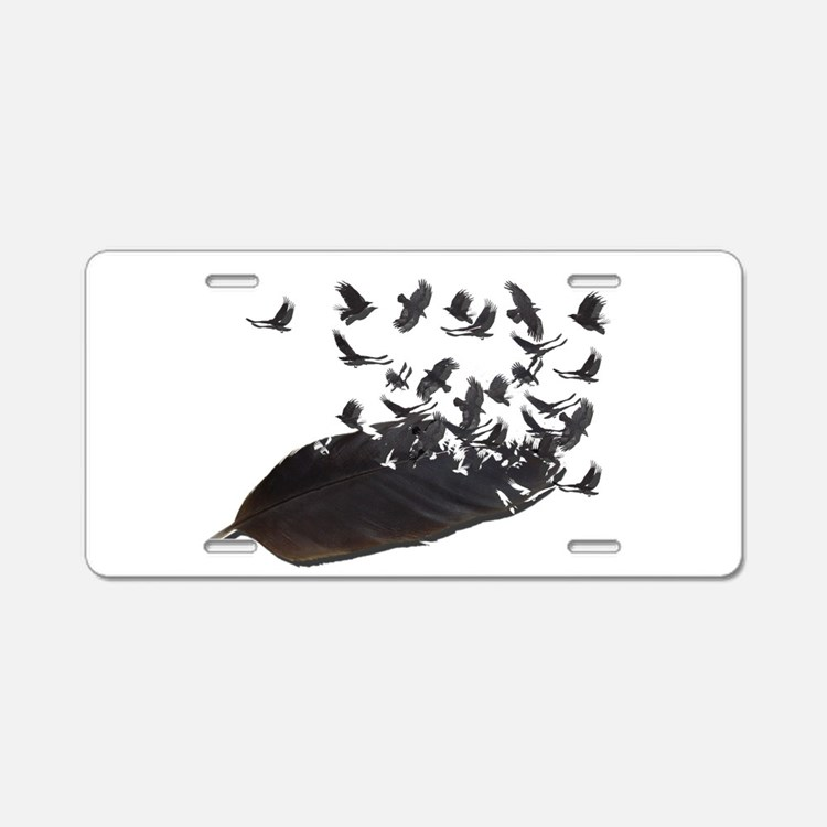 Flying Crow Feather Aluminum License Plate