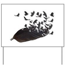 Flying Crow Feather Yard Sign